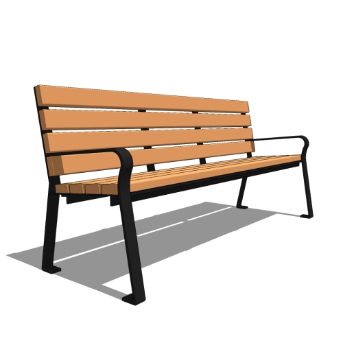 6′ Plaza Recycled Straight Back Bench