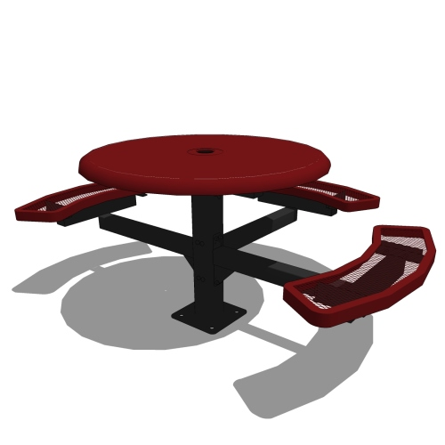 46″ Round Pedestal Solid Top Picnic Table – 3 Seats
