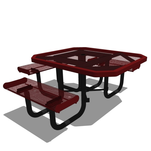 46 Rolled Edges Octagon Portable Table – 3 seat