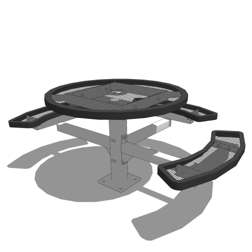 46″ Round Pedestal Table – Expanded Metal or Perforated – 3 Seat