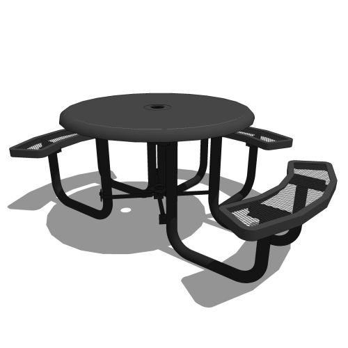 46″ Round Portable Solid Top Picnic Table – 3 Seats