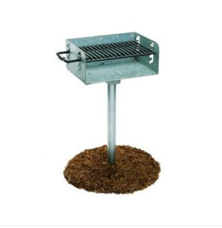 Galvanized Rotating Pedestal Outdoor Barbecue Grill – 300 Square Inch