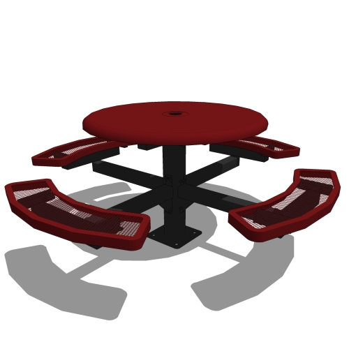 46″ Round Pedestal Solid Top Picnic Table – In Ground or Surface Mount
