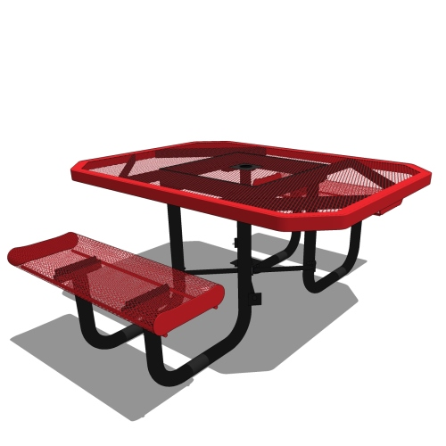 46 Rolled Edges Octagon Portable Table – 2 Seat