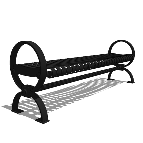 Roundcast™ – R3 –  6′ Backless Strap Metal Bench