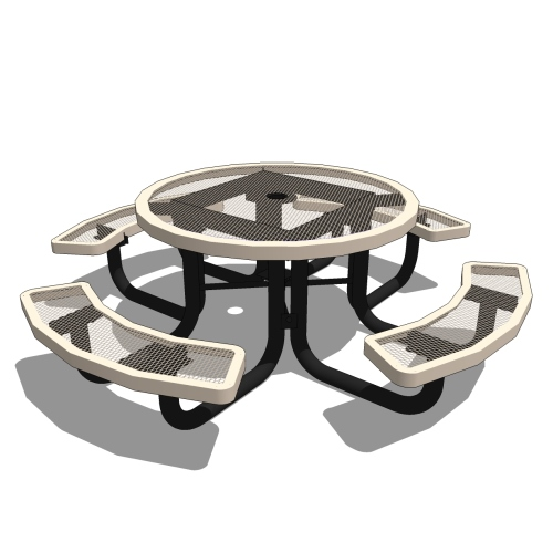46″ Round Portable Picnic Table – Expanded Metal or Perforated