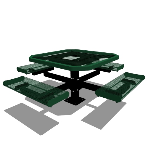 46 Octagonal Pedestal Table Rolled Seat
