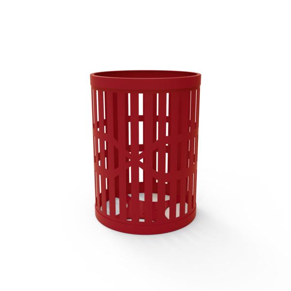 Round Strap Steel Trash Receptacle – 32 Gallon
